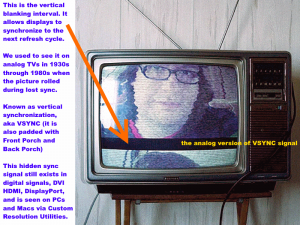 This is the vertical blanking interval. It allows displays to synchronize to the next refresh cycle. We used to see it on analog TVs in 1930s through 1980s when the picture rolled during lost sync. Known as vertical synchronization, aka VSYNC (it is also padded with Front Porch and Back Porch) This hidden sync signal still exists in digital signals, DVI, HDMI, DisplayPort, and is seen on PCs and Macs via Custom Resolution Utilities.